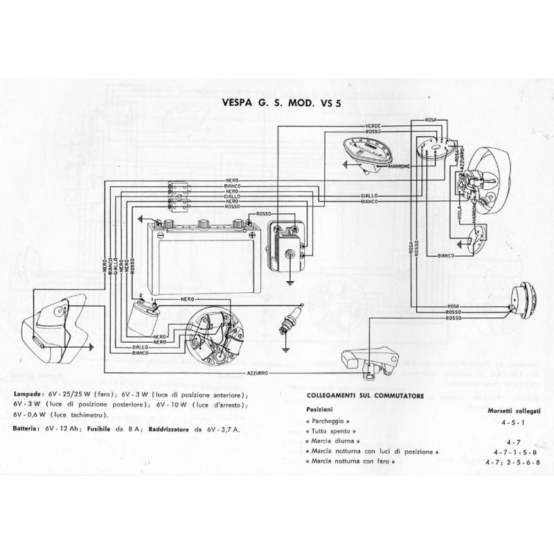 Schema Elettrico X9 250 : Impianto elettrico originale piaggio per vespa gs vs t