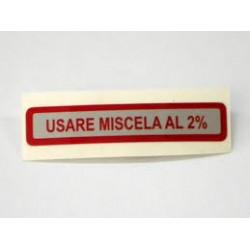 ADESIVO MISCELA 2% ROSSO VESPA 50 90 125 PRIMAVERA ET3 ORIGINALE