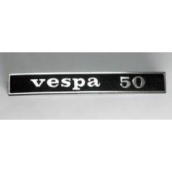 """SCRITTA TARGHETTA"""" VESPA 50"""" POSTERIORE IN ALLUMINIO PER VESPA 50 R"""