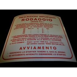 ADESIVO NORME RODAGGIO ROSSO VESPA 4 MARCE AL 2% 139 X 139 MM